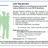 Job Vacancies: Community Liaison Workers