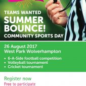 Teams wanted for 'Summer Bounce' community sports day!